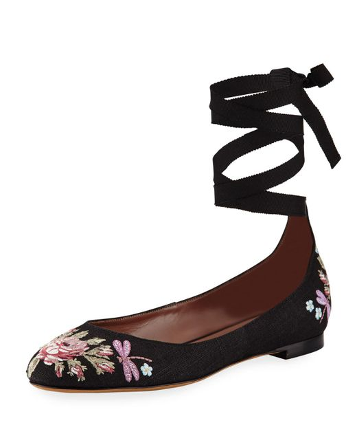 Tabitha Simmons | Black Daria Embroidered Linen Ankle-wrap Flat | Lyst