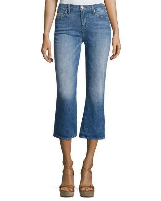7 For All Mankind | Blue Cropped Boot Denim Jeans | Lyst