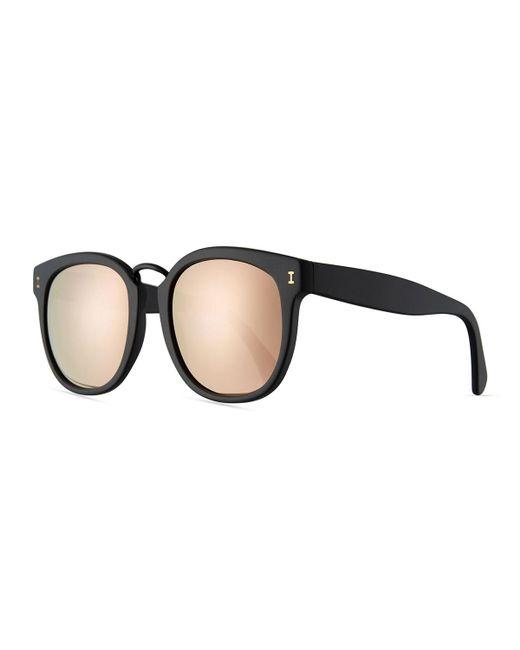 Illesteva | Black Sardinia Mirrored Square Sunglasses | Lyst