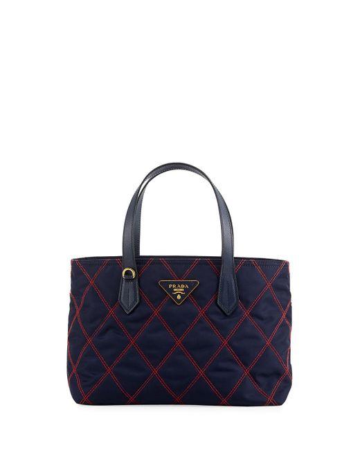 Prada | Blue Quilted Tessuto Tote Bag | Lyst