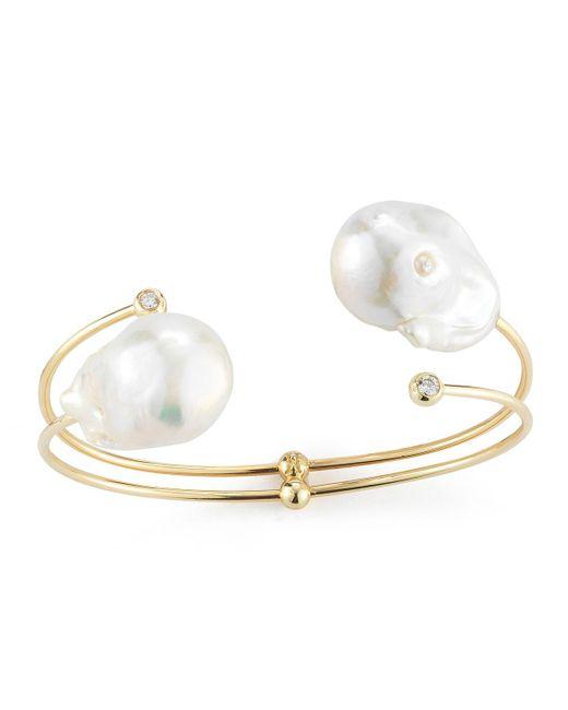 Mizuki - Metallic Double-pearl & Diamond Cuff Bracelet - Lyst