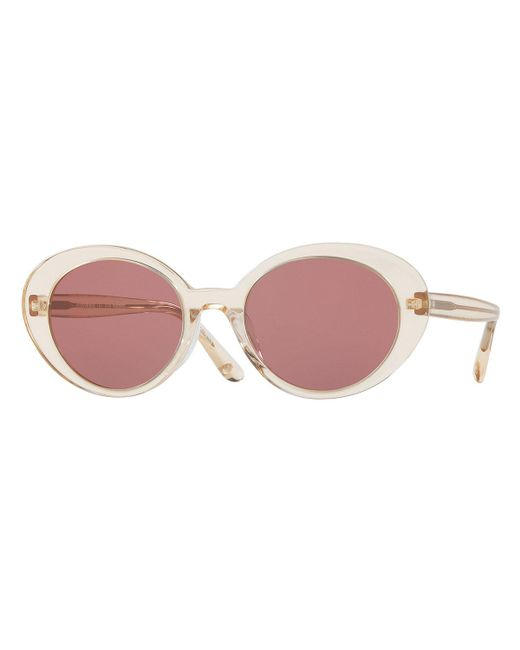 Oliver Peoples - Pink Parquet Monochromatic Oval Sunglasses - Lyst