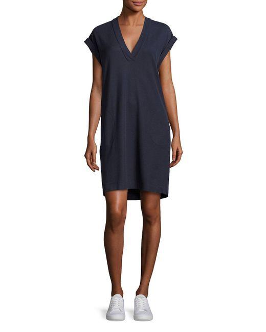 ATM - Blue Pique Pima Shift Dress - Lyst