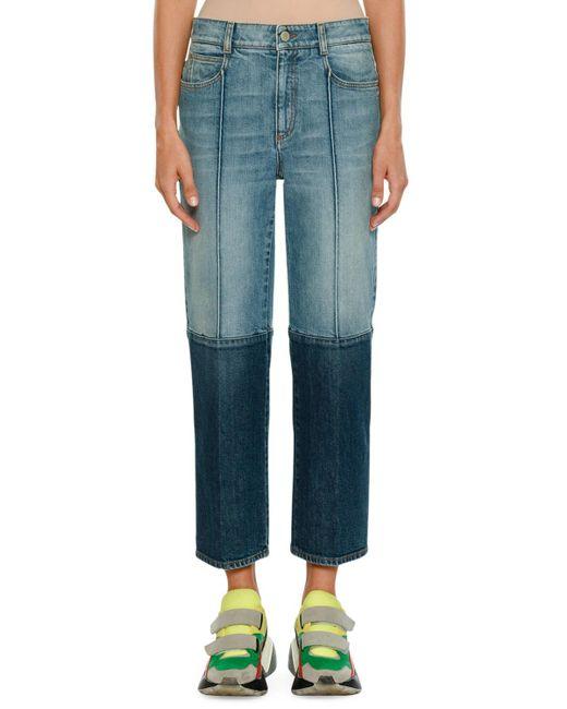 Stella McCartney - Blue Straight-leg Cropped Two-tone Denim Jeans - Lyst