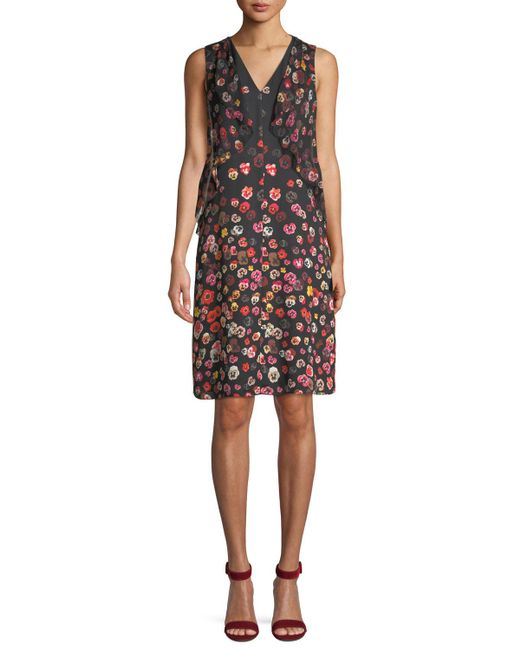 Elie Tahari - Black Jezeble Ruffled Floral Print Silk Dress - Lyst