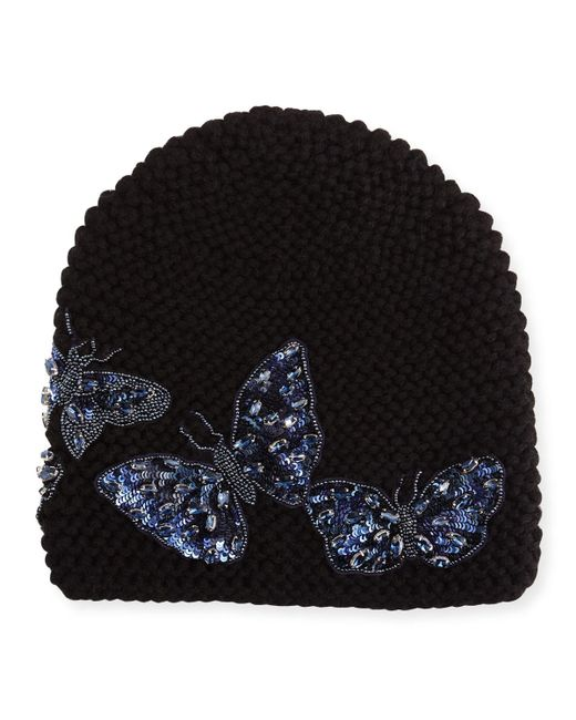 Jennifer Behr | Black Mariposa Beanie Hat | Lyst