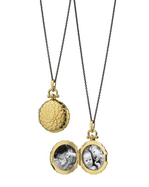 Monica Rich Kosann - Metallic 18k Petite Scallop Locket Necklace - Lyst