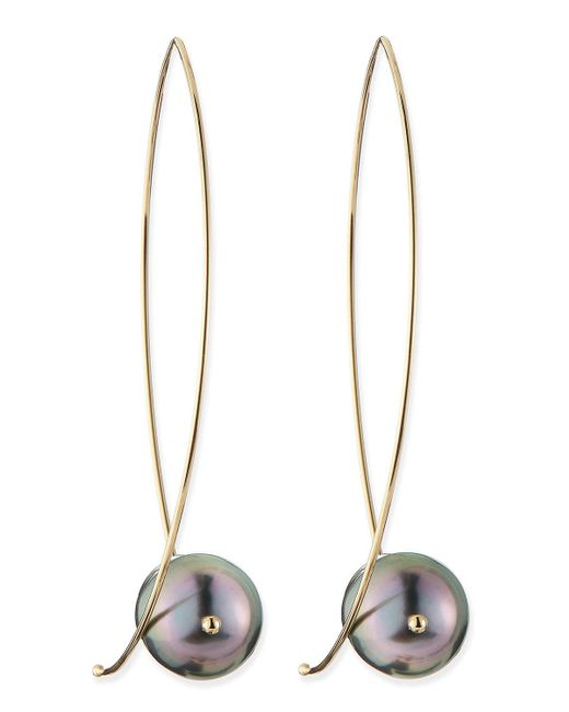 Mizuki - Metallic 14k Gold Black Tahitian Pearl Earrings - Lyst
