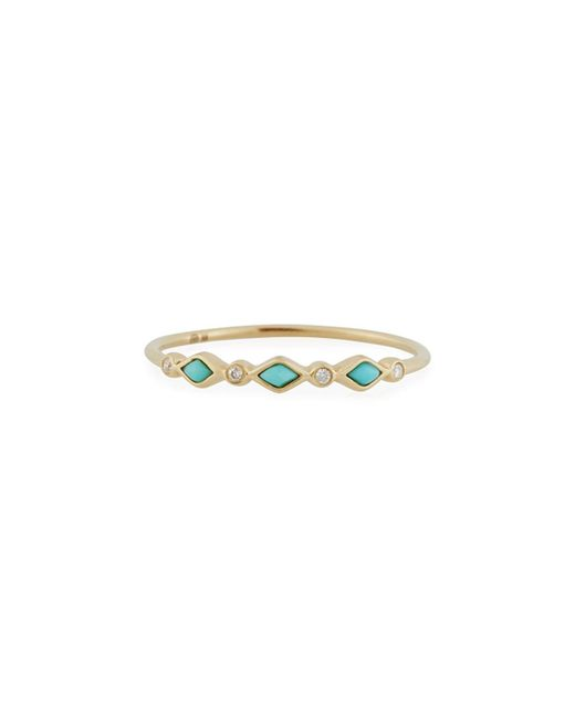 Sydney Evan - Metallic Turquoise Bezel & Diamond Stacking Ring - Lyst