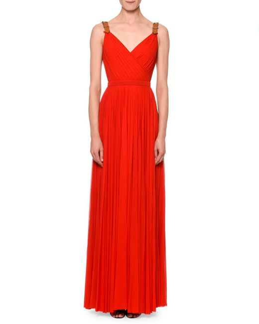 Alexander McQueen - Red Pleated Maxi Gown W/leather Belt Straps - Lyst