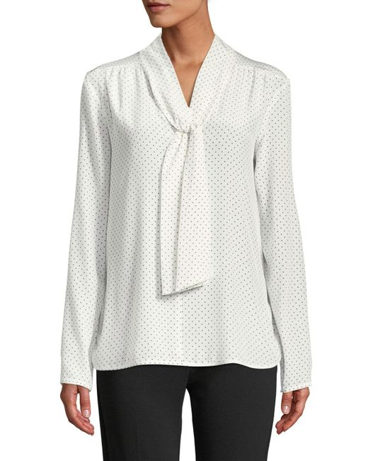 Max Mara - White Adelmo Tie-neck Long-sleeve Dot-print Silk Blouse - Lyst