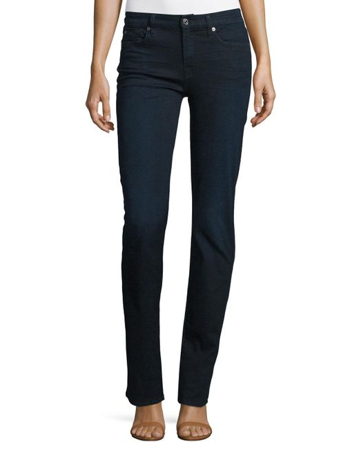 7 For All Mankind | Kimmie Straight Blue Black | Lyst
