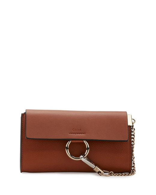 Chloé | Brown Faye Leather Wallet-on-a-strap | Lyst