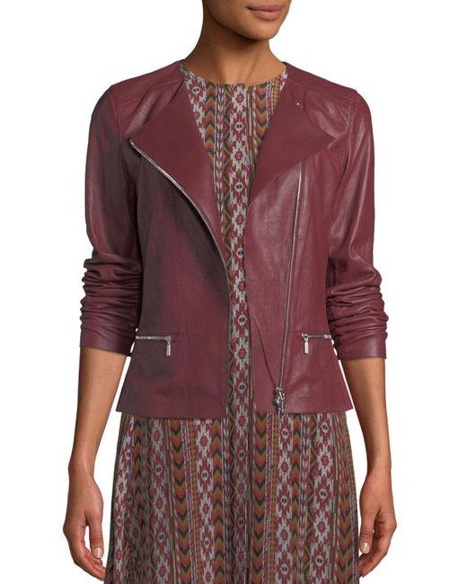 Lafayette 148 New York - Purple Trista Zip-front Weathered Lambskin Leather Jacket W/ Jersey Combo - Lyst