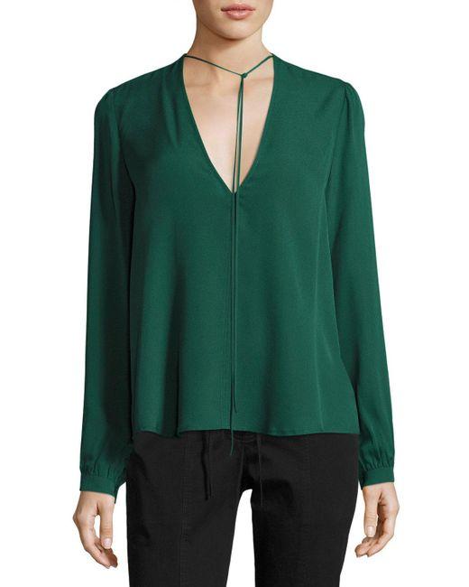 A.L.C. | Green Kirk V-neck Long-sleeve Blouse | Lyst