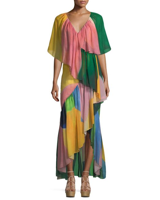 Rosetta Getty - Multicolor Reversible Tiered Silk Watercolor Maxi Dress - Lyst