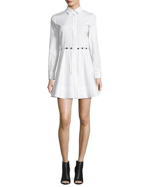 Alexander Wang | White Button-trim Long-sleeve Cotton Shirtdress | Lyst
