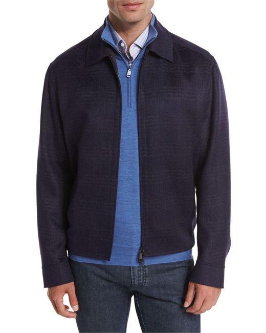 e8d98a2da0e1 Lyst - Brioni Wool-blend Plaid Blouson Jacket in Blue for Men - Save 73%