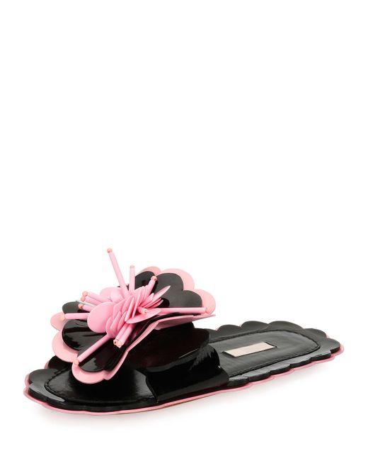 Miu Miu   Pink Patent Flower Flat Slide Sandal   Lyst