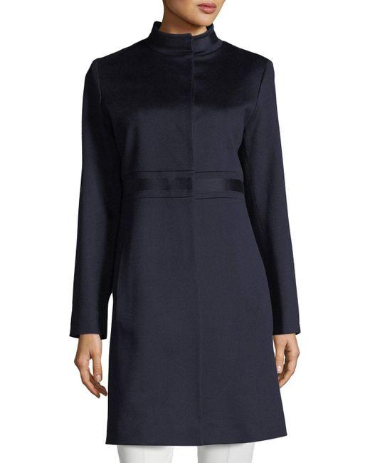 Fleurette - Blue Stand-collar Banded-waist Wool Coat - Lyst