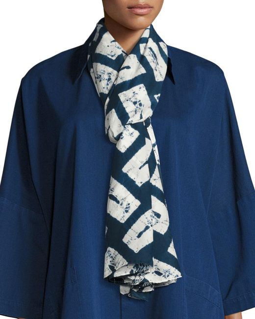 Eskandar - Blue Rectangular Shibori Silk Scarf - Lyst