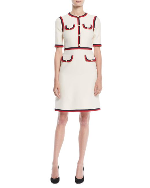221565b9d4b Gucci - White Wool Silk Dress With Web - Lyst ...