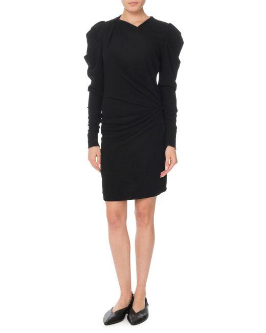 Isabel Marant - Black Puff Long-sleeve Ruched Mini Dress - Lyst