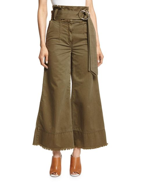 Cinq À Sept | Green Serge Belted Wide-leg Cropped Trousers | Lyst