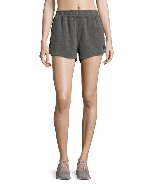 The Upside | Gray Paneled Run Double-fleece Shorts | Lyst