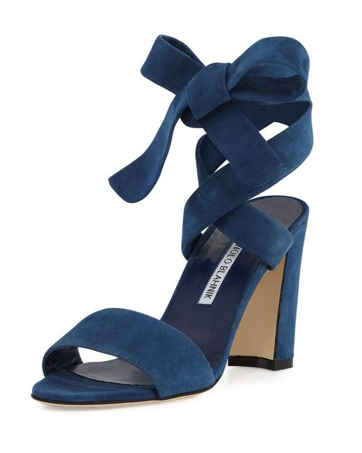 Manolo Blahnik | Blue Tondala Suede Ankle-wrap Sandal | Lyst