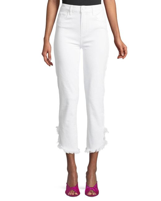 PAIGE - White Hoxton High-waist Straight-leg Ankle Jeans With Fray Hem - Lyst