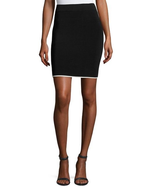 T By Alexander Wang | Black Pencil Skirt W/ Tipping | Lyst