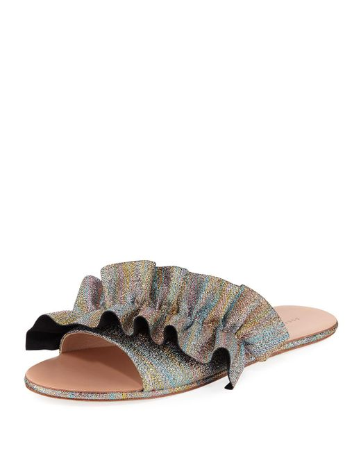 Loeffler Randall - Multicolor Rey Ruffled Flat Slide Sandal - Lyst