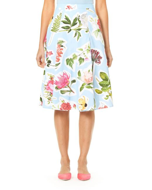 Carolina Herrera - Blue Floral Collage-print Cotton Faille Full Skirt - Lyst