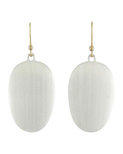 Ted Muehling - Metallic Large Brushed Silver Chip Earrings - Lyst