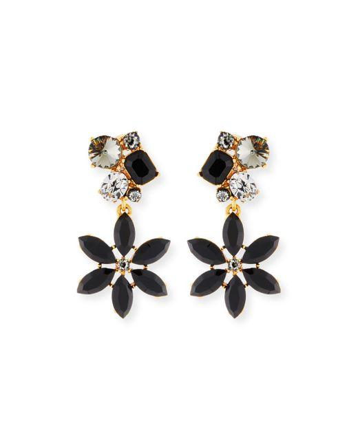 Oscar de la Renta - Multicolor Crystal Flower Clip-on Earrings - Lyst