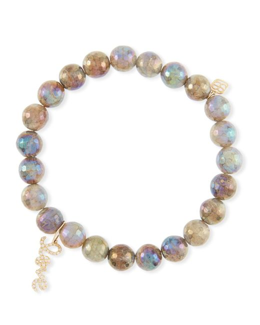 Sydney Evan - Metallic Coated Labradorite Bead Bracelet W/ Love Charm - Lyst