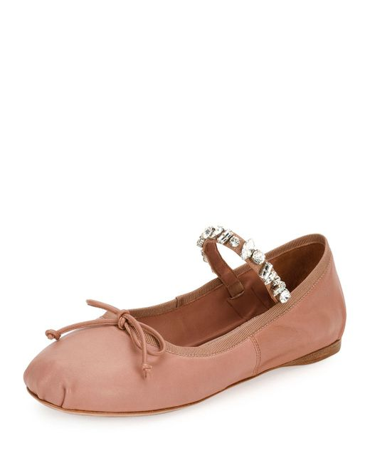 Miu Miu | Brown Jeweled-strap Leather Ballerina Flat | Lyst
