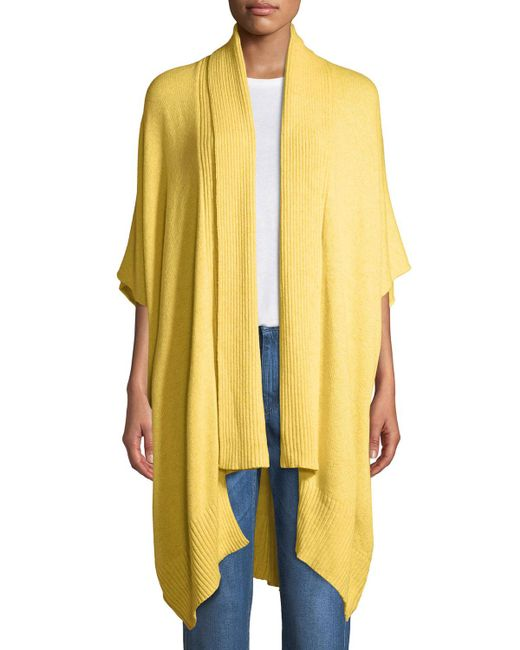Eskandar - Yellow Ribbed Shawl-collar Open-front Tabard Cardigan - Lyst