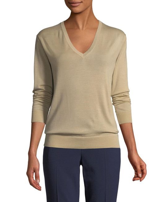 Ralph Lauren Collection - Brown V-neck Long-sleeve Cashmere Jersey Sweater - Lyst