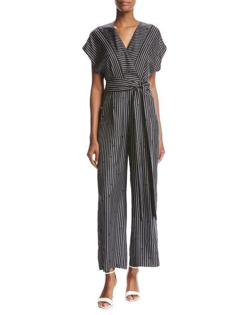 Diane von Furstenberg | Black Short-sleeve V-neck Striped Silk Jumpsuit | Lyst