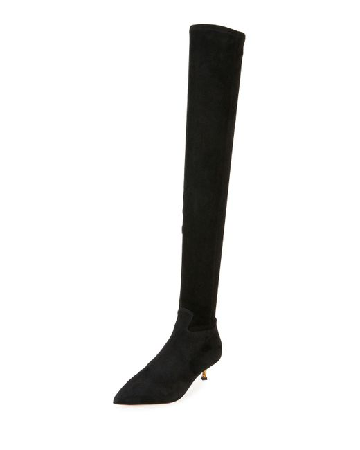 Valentino | Black Over-the-knee Stretch-suede Boot | Lyst