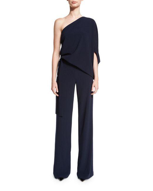 Halston Heritage | Blue One-shoulder Draped Stretch Crepe Jumpsuit | Lyst
