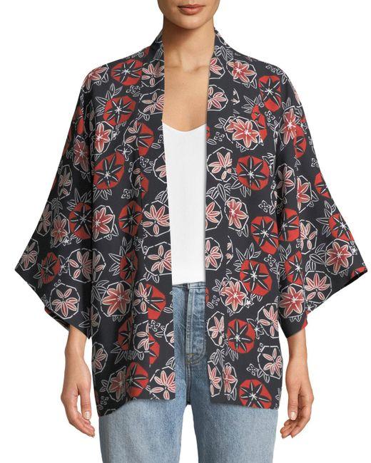 Elizabeth and James - Black Drew Printed Open Tie-front Kimono - Lyst