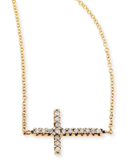 Mizuki | Metallic Pave Diamond Side Cross Necklace | Lyst