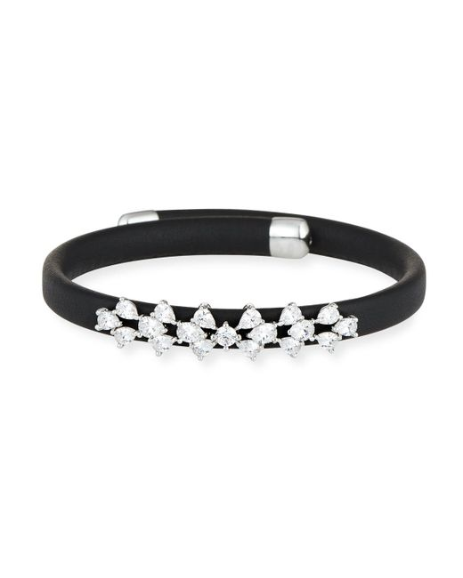 Fallon - Black Monarch Leather Snap Bracelet - Lyst