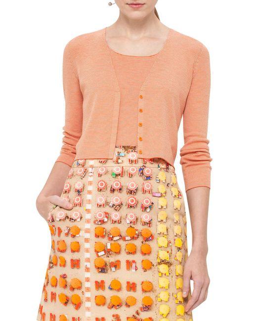 Akris Punto | Orange Micro-stripe Wool V-neck Cropped Cardigan | Lyst
