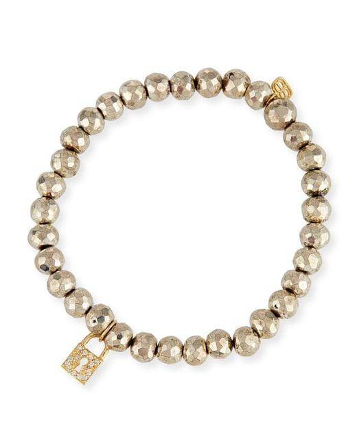 Sydney Evan | Metallic 6mm Beaded Pyrite Bracelet With Diamond Lock Charm | Lyst