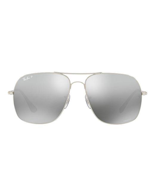e76f5ac725 Ray-Ban - Metallic Metal Polarized Aviator Sunglasses for Men - Lyst ...