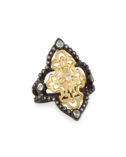 Armenta - Black Old World Open Scroll Ring With Diamonds - Lyst